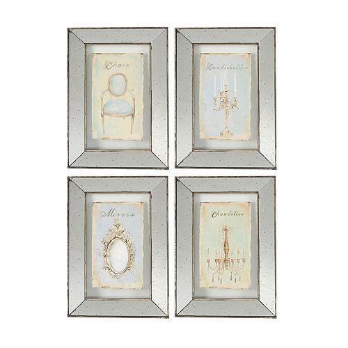 4 piece vintage mirrored frame wall art set