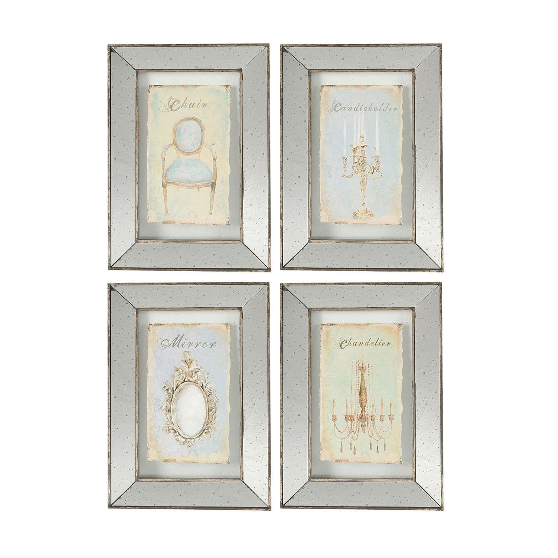 4piece vintage mirrored frame wall art set