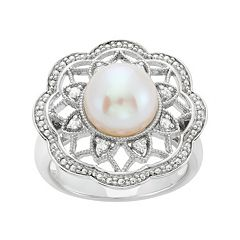 Freshwater Cultured Pearl & 1/10 Carat T.W. Diamond Sterling Silver Flower Ring