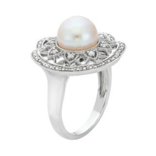 Freshwater Cultured Pearl and 1/10 Carat T.W. Diamond Sterling Silver Flower Ring