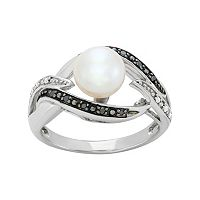 Freshwater Cultured Pearl, & Black & White Diamond Accent Sterling Silver Openwork Ring