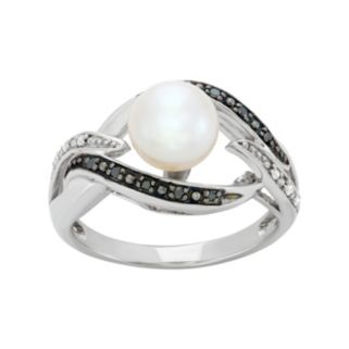 Freshwater Cultured Pearl, and Black and White Diamond Accent Sterling Silver Openwork Ring