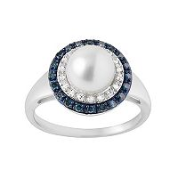 Freshwater Cultured Pearl & 1/4 Carat T.W. Blue & White Diamond Sterling Silver Halo Ring