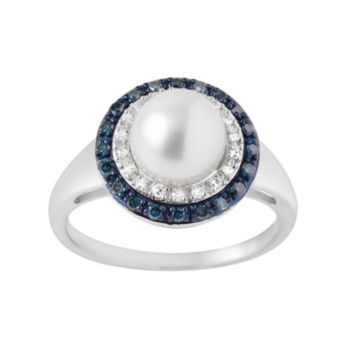 Freshwater Cultured Pearl and 1/4 Carat T.W. Blue and White Diamond Sterling Silver Halo Ring
