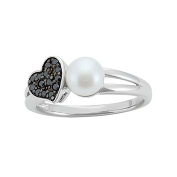 Freshwater Cultured Pearl & 1/10 Carat T.W. Black Diamond Sterling Silver Heart Ring