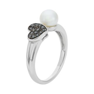 Freshwater Cultured Pearl and 1/10 Carat T.W. Black Diamond Sterling Silver Heart Ring
