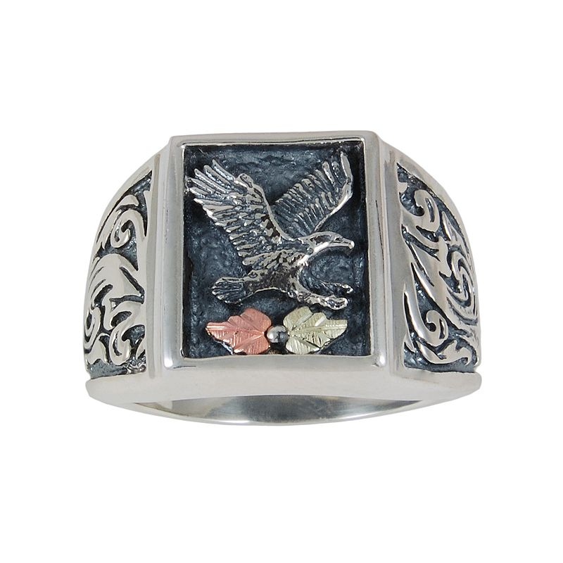 Black hills gold tri tone eagle ring in sterling silver men for Kohls jewelry mens rings