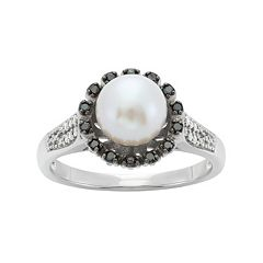 Freshwater Cultured Pearl & 1/8 Carat T.W. Black & White Diamond Sterling Silver Flower Ring