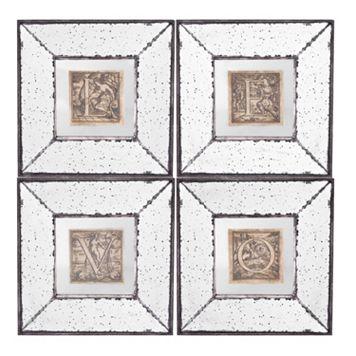4-piece ''Love'' Mirrored Frame Wall Art Set