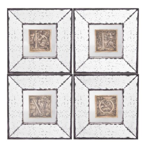 4-piece ''Love'' Mirrored Frame Wall Art Set
