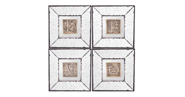 4 piece love mirrored frame wall art set