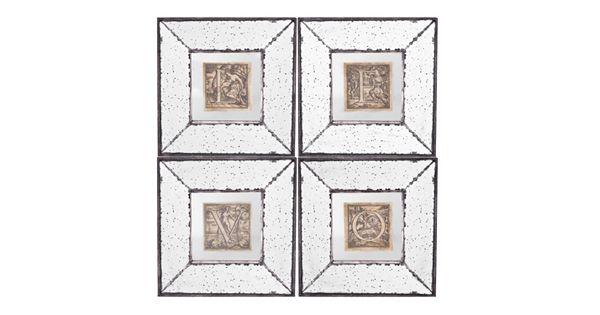 4 piece love mirrored frame wall art set
