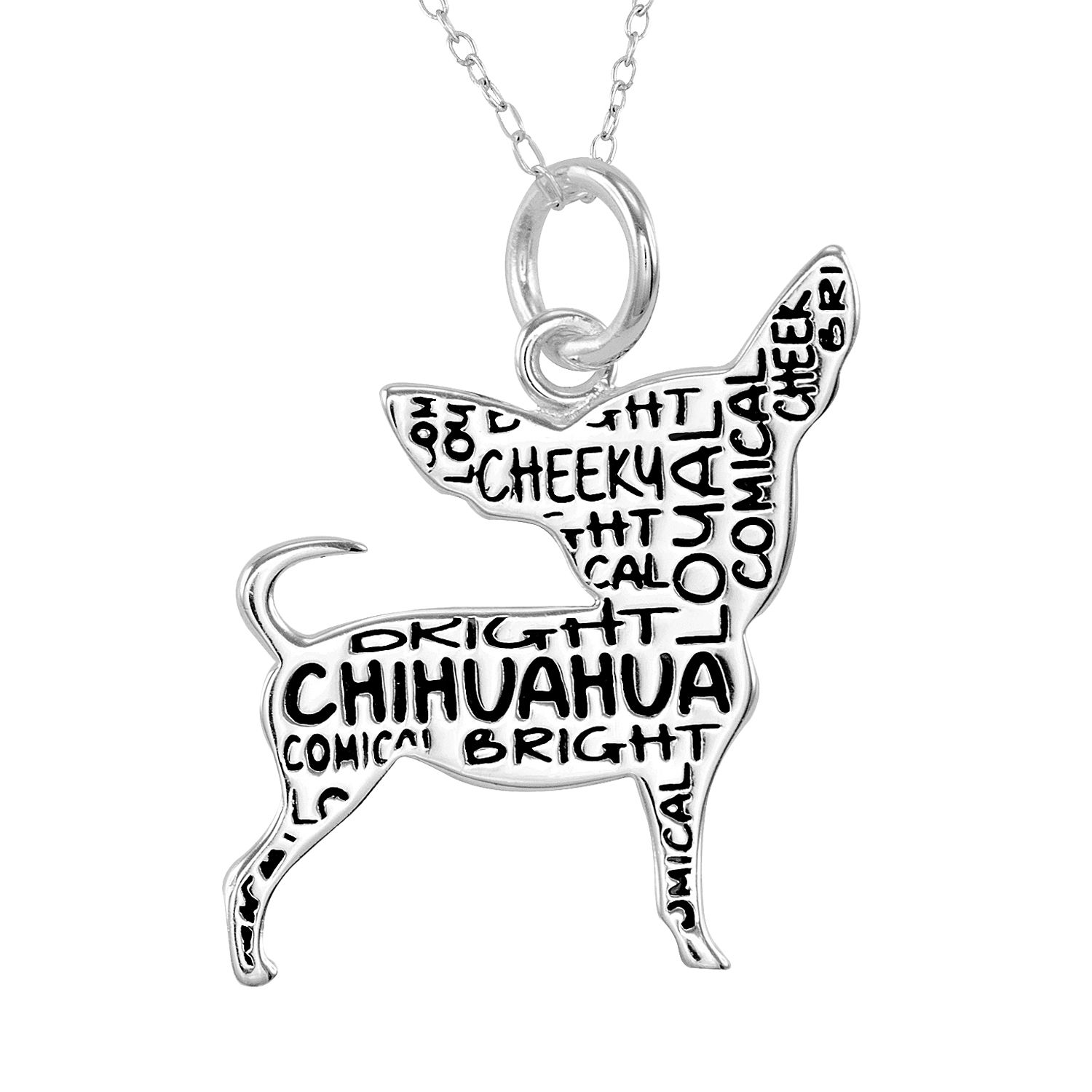 silver plated chihuahua pendant necklace