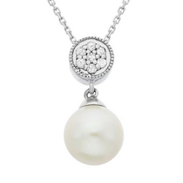 Freshwater Cultured Pearl & Diamond Accent Sterling Silver Pendant Necklace