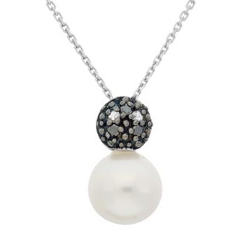 Freshwater Cultured Pearl, & Black & White Diamond Accent Sterling Silver Ball Pendant Necklace