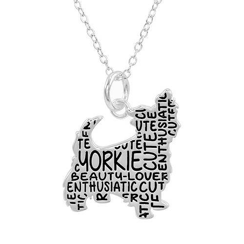 Silver plated yorkie pendant necklace aloadofball Image collections