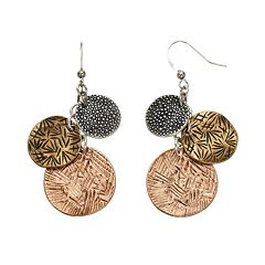 Textured Disc Drop Earrings