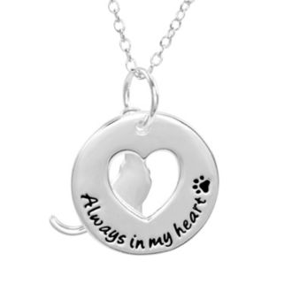 Silver-Plated '' Always In My Heart'' Pendant Necklace