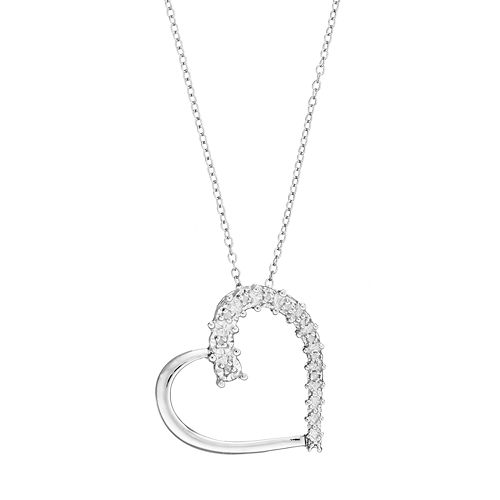 10ed89420 Sterling Silver 1/10 Carat T.W. Diamond Heart Pendant Necklace