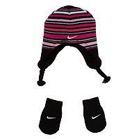Nike Stripe Beanie Hat & Mittens Set - Baby