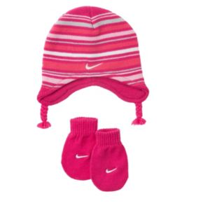 Nike Stripe Beanie Hat and Mittens Set - Baby