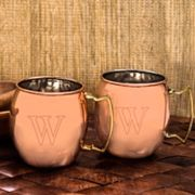 Cathy's Concepts  2 pc Monogram Copper Moscow Mule Mug Set
