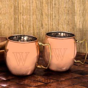 Cathy's Concepts  2-pc. Monogram Moscow Mule Copper Mug Set