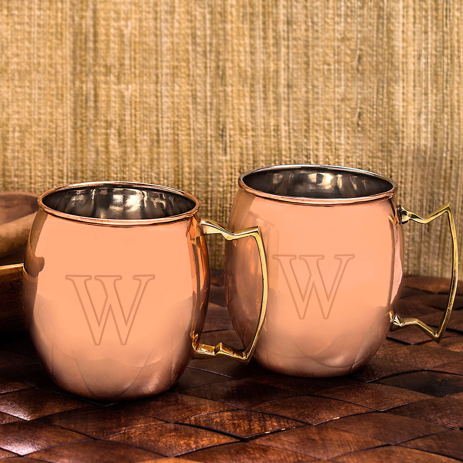 monogram copper moscow mule mug set