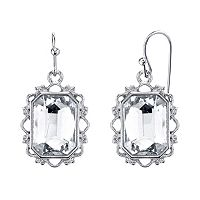 1928 Faceted Simulated Crystal Rectangle Drop Earrings