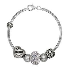 Individuality Beads Crystal Sterling Silver Snake Chain Bracelet & 'Mom' Bead Set