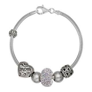 """Individuality Beads Crystal Sterling Silver Snake Chain Bracelet & """"Mom"""" Bead Set"""