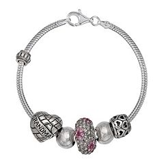 Individuality Beads Crystal Sterling Silver Snake Chain Bracelet & 'Grandma' Bead Set