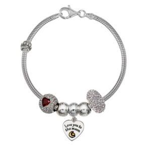 """Individuality Beads Crystal Sterling Silver Snake Chain Bracelet & """"Love"""" Charm & Bead Set"""