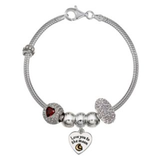 "Individuality Beads Crystal Sterling Silver Snake Chain Bracelet & ""Love"" Charm & Bead Set"