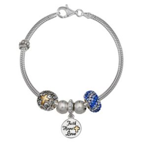 """Individuality Beads Crystal Sterling Silver Snake Chain Bracelet & """"Faith"""" Charm & Bead Set"""