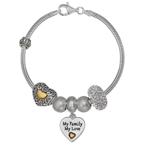 """Individuality Beads Crystal Sterling Silver Snake Chain Bracelet & """"Family"""" Charm &amp..."""