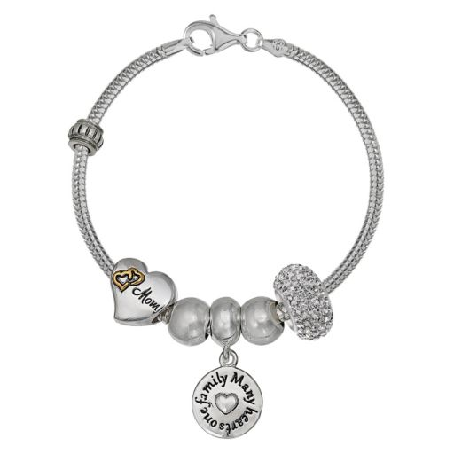 """Individuality Beads Crystal Sterling Silver Snake Chain Bracelet & """"Mom"""" Charm & Bead Set"""