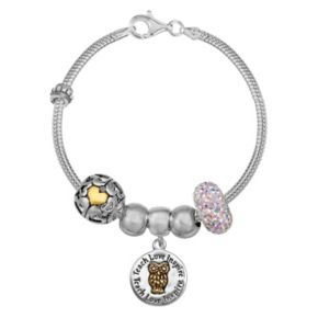 Individuality Beads Crystal Sterling Silver Snake Chain Bracelet and Teacher Charm and Bead Set