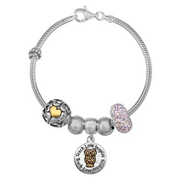 Individuality Beads Crystal Sterling Silver Snake Chain Bracelet & Teacher Charm & Bead Set
