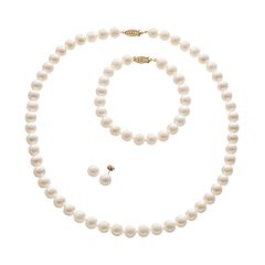Freshwater Cultured Pearl 14k Gold Necklace, Bracelet & Stud Earring Set