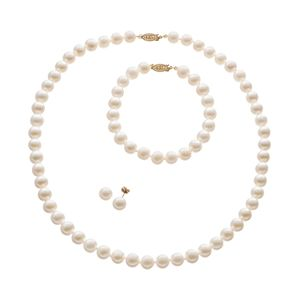 Freshwater Cultured Pearl 14k Gold Necklace, Bracelet and Stud Earring Set