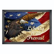 Reflective Art ''Liberty Will Prevail'' Framed Canvas Wall Art
