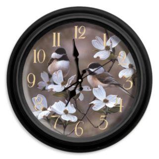 Reflective Art ''Springtime Chickadees'' Wall Clock