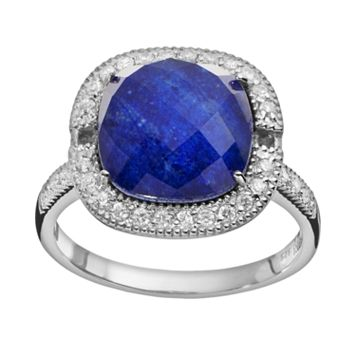 SIRI USA by TJM Lapis Lazuli & Crystal Doublet, & Cubic Zirconia Sterling Silver Cushion Halo Ring