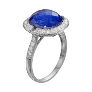 SIRI USA by TJM Lapis Lazuli and Crystal Doublet, and Cubic Zirconia Sterling Silver Cushion Halo Ring