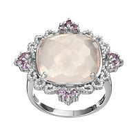 SIRI USA by TJM Rose Quartz & Amethyst Sterling Silver Filigree Ring