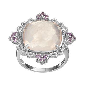 SIRI USA by TJM Rose Quartz & Amethyst Sterling Silver Filigree Ring