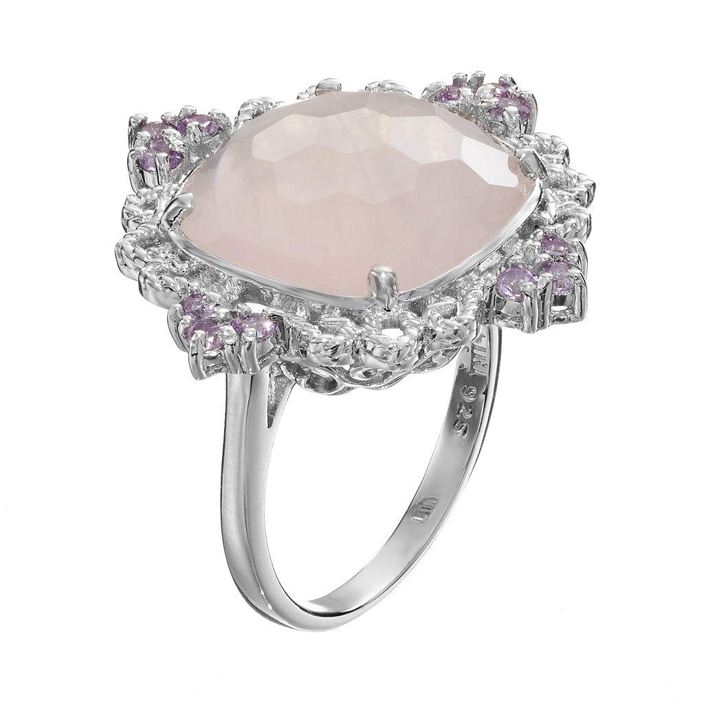 SIRI USA by TJM Rose Quartz and Amethyst Sterling Silver Filigree Ring
