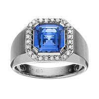 Lab-Created Blue Sapphire & 1/4 Carat T.W. Diamond 10k White Gold Ring - Men