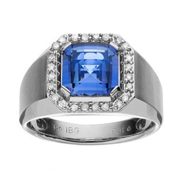 Lab-Created Blue Sapphire & 1/4 Carat T.W. Diamond 10k White Gold Ring - Men